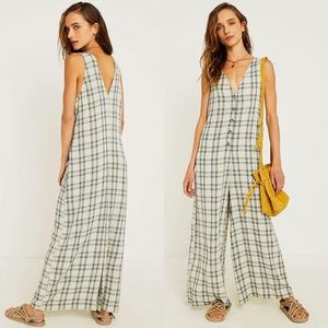 New Urban Outfitters Plaid Button-Through Jumpsuit